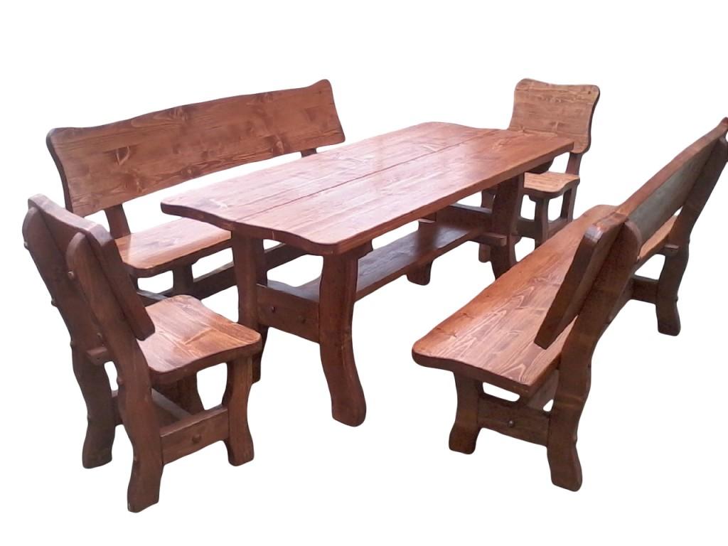 Komplet biesiadny (ogrodowy) gruby-świerkowy Wykonany z blatów klejonych o gr 4.5cm Dł. stołu oraz ławek 160cm/200cm Dł. siedzenia stołków 48cm lakierowany kolor tik,orzech ciemny,dąb Cena 1200zł(160) netto(200cm+100zł)