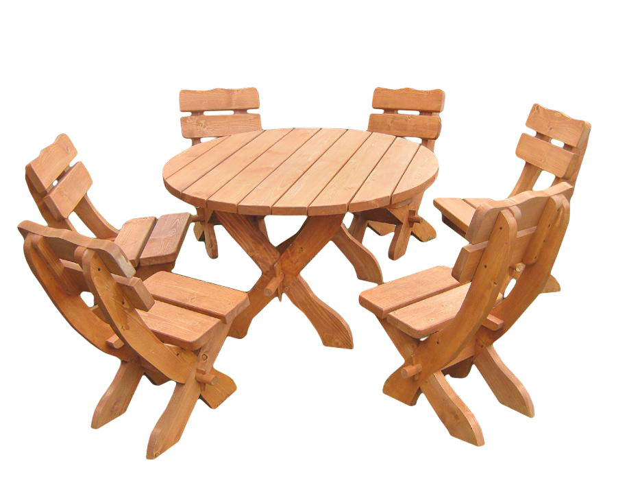 Komplet ogrodowy okrągły. Średnica stołu - 120 cm. W komplecie 6 krzeseł (do wyboru z każdego modelu). Cena750 zł (z krzesłami z kompletu zwykłego)
