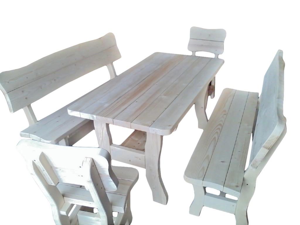 Komplet ogrodowy wycinany-świerkowy Dł. stołu oraz ławek 160cm/200cm Dł. siedzenia stołków 48cm Gr. wszystkich elemetów 4cm Cena 850zł(160cm) netto(200cm+80zł)